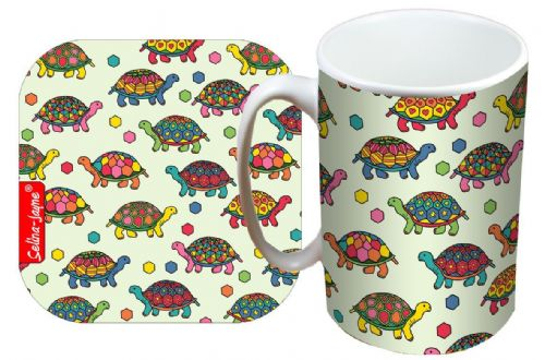 Selina-Jayne Tortoise Limited Edition Designer Mug and Coaster Set